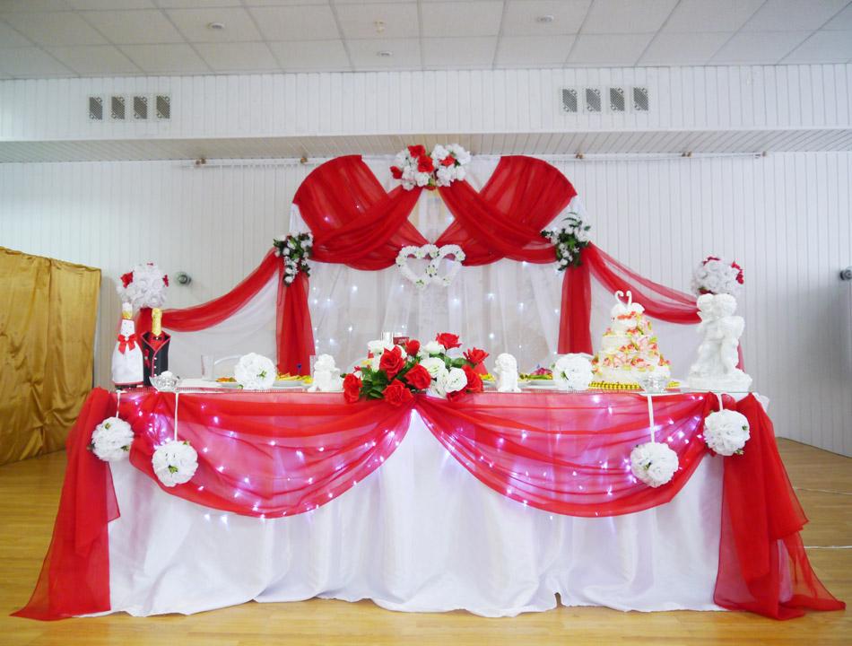 Оформление свадебного зала в красно белом цвете фото